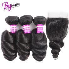 Bybrana Loose Wave Пучки с закрытием Бразильские волосы Пучки с закрытием Натуральный цвет Реми