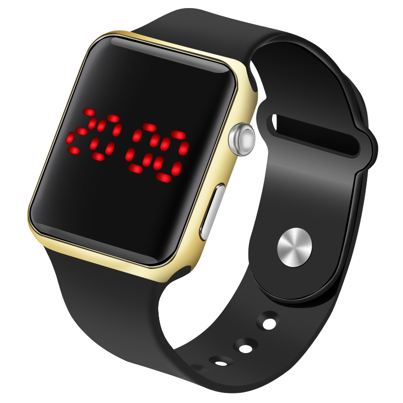 Square Mirror Face Digital Women LED Watches Sport Electronic Wrist Watch Men's Watch Lover's Clock