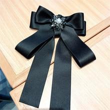 Korea Handmade Fabric Solid Vintage Bowknot Rhinestone Pearl Shirt Pins Neck Bow Tie Accessories Fashion Jewelry-YHNLB042F