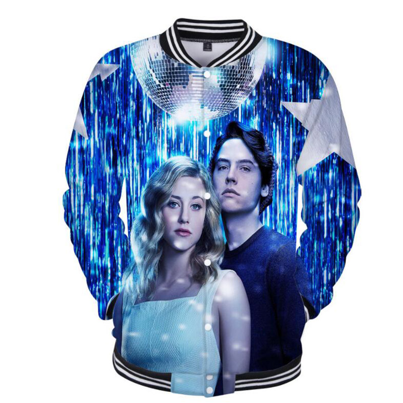 American TV Riverdale 3D Printed Baseball Jacket Students Coat Long Sleeve Jughead Jones Zip-up Fleece Hoodie Sweatshirt Men 4XL