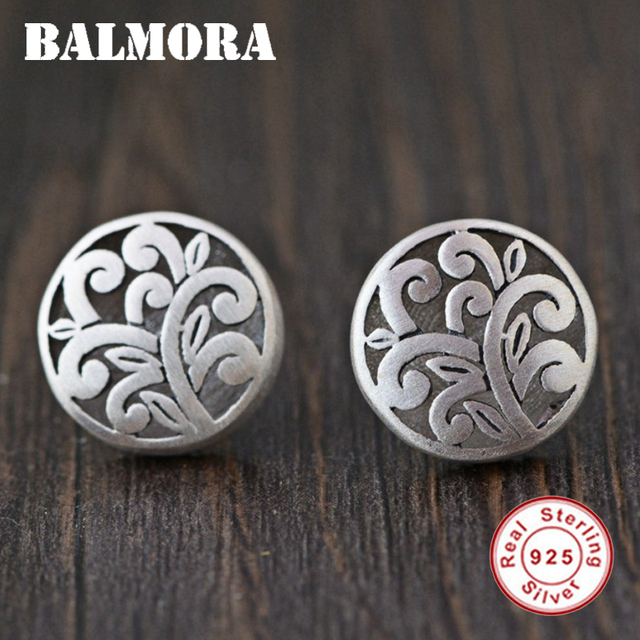 BALMORA Authentic 925 Sterling Silver Vintage Ethnic Stud Earrings for Women Gift Silver Earrings Elegant Jewelry Aretes SY31602
