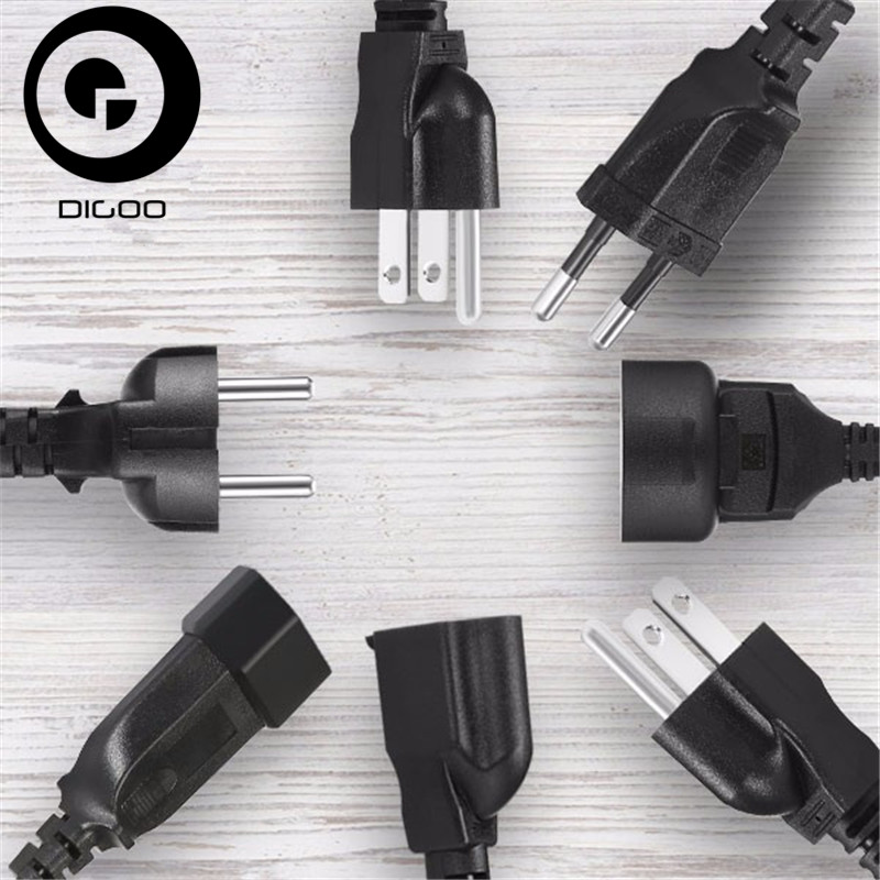 DIGOO AC Power Extension Cable Cord 1X 3 Meter EU Or 10X 0.3 Meter EU US Black PVC Rubber CCTV Accessories