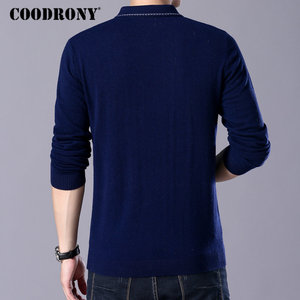 COODRONY Brand Sweater Men Turn-down Collar Pull Homme Autumn Winter 100% Merino Wool Sweaters Warm Cashmere Pullover Men 93005