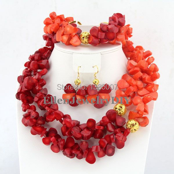 Fashion Trend Nigerian Coral Jewelry Set African Beads Coral Necklace Wedding Gift Bridesmaid Necklace Bridal Jewelry Sets