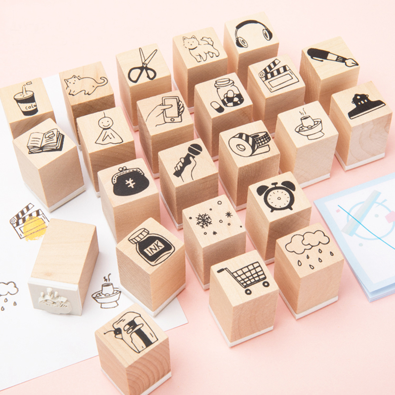 Vintage Hand Draw Series Wood Stamp DIY Craft Wooden Rubber Stamps For Scrapbooking Stationery Scrapbooking Standard Stamp