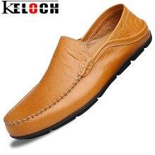 Keloch Nuevos Hombres Holgazanes Casuales Zapatos de Verano de Moda Dividida Luz Comodidad Mocasines Resbalón En Los Zapatos de Conducción de Cuero Suave Para Hombre de Pisos