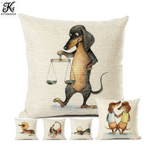 12 Zodiac Dachshund Dog Funny Throw Pillow Case For Children Room Comic Cartoon Sauage Dog Art Cute Sofa Cushion Cover 45x45 cm(China)