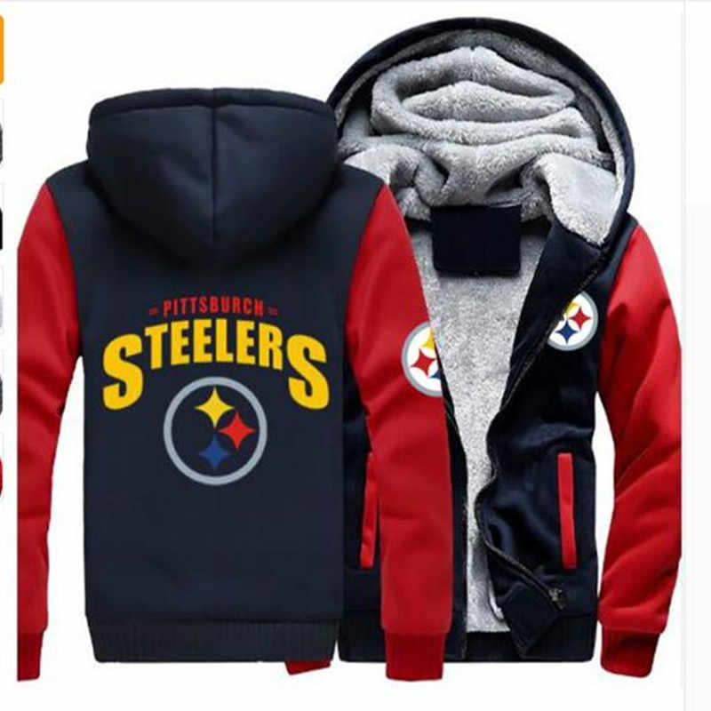 521d3b721 Dropshipping Men Women Steelers Broncos Cowboys Hoodies Zipper Sweatshirts  Jacket Printed Winter Thicken Hooded Coa
