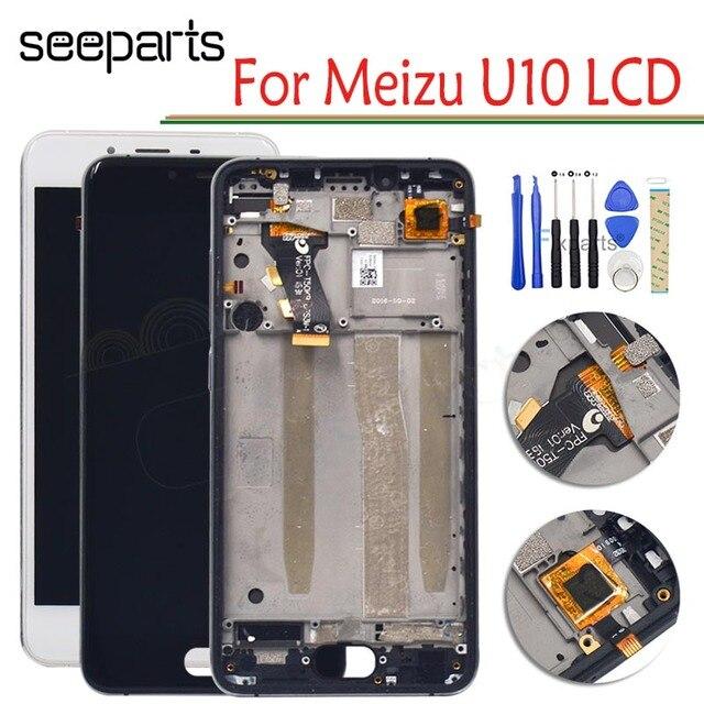 """100% חדש Meizu U10 LCD תצוגת מסך מגע Digitizer עצרת עם מסגרת עבור 5.0 """"Meizu U 10 תצוגת החלפה חלקים + כלים"""