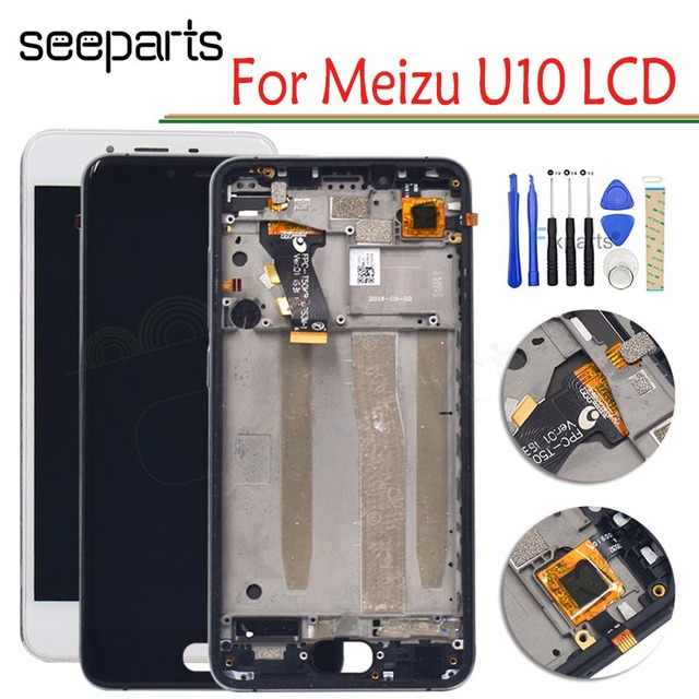 "100% NEW Meizu U10 LCD Display Touch Screen Digitizer Assembly With Frame For 5.0"" Meizu U 10 Display Replacement Parts+Tools"