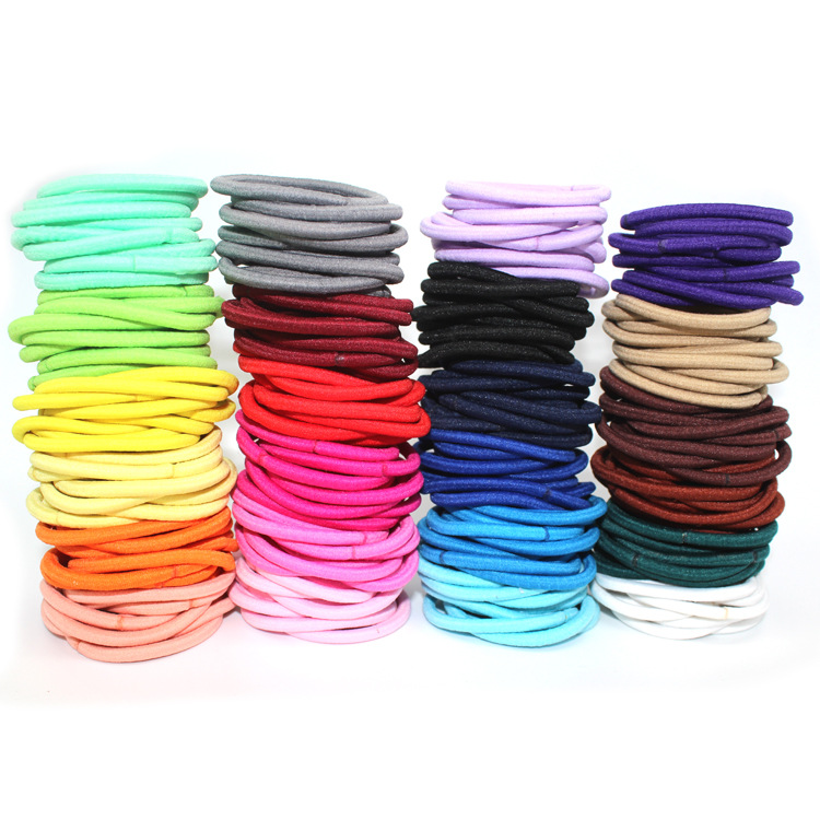20pcs/lot Black Mix Color Hair Rope Elastic Hair Ties 4mm Thick Hairbands Girl's Hair Bands Women Hair Accessories, Headwear