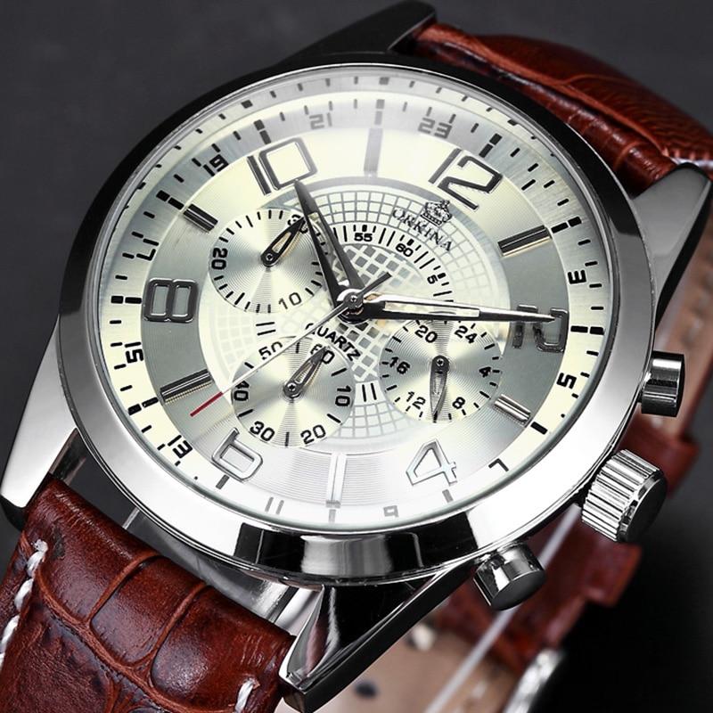 MG. ORKINA Mens Watches Leather Strap Sports Watch Chronograph Stopwatch Function Quartz Male Wrist Watch kol saati Clock Men mg  orkina leather strap skeleton
