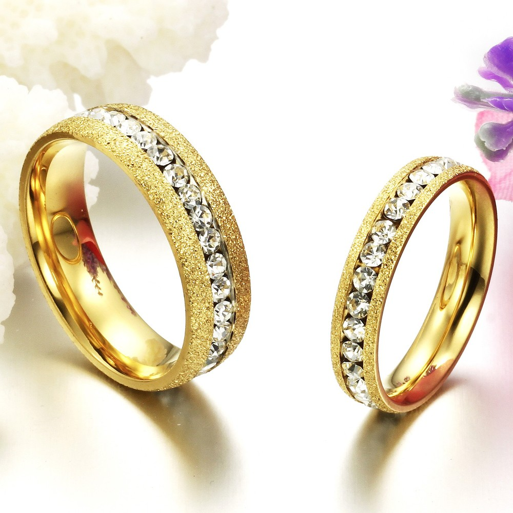 Fate Love Shinning Couple Jewelry Gold Color Finger Rings One Row ...