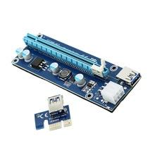 10PCS  VER006C 60CM PCIE PCI-E 1X to 16X Riser Card Extender + USB 3.0 Cable / SATA 15Pin to 6Pin Power Cord for BTC LTC Miner