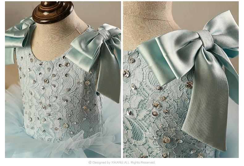 Купить с кэшбэком Sky Blue Princess Pageant Dresses For Girls Ruffles Tiered Kids Ball Gowns Crystal Bow First Communion Dresses Flower Girl