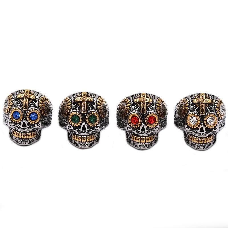 Wholesale Kapala Skull Biker Ring Stainless Steel Jewelry Colorful Blue  Green Red White Eyes Gold Cross 0425641343b5