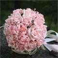 Venda quente de Seda Artificial Mãos Noiva Segurando Rose Flor Nupcial Do Casamento Bouquet buque de noiva Frete Grátis