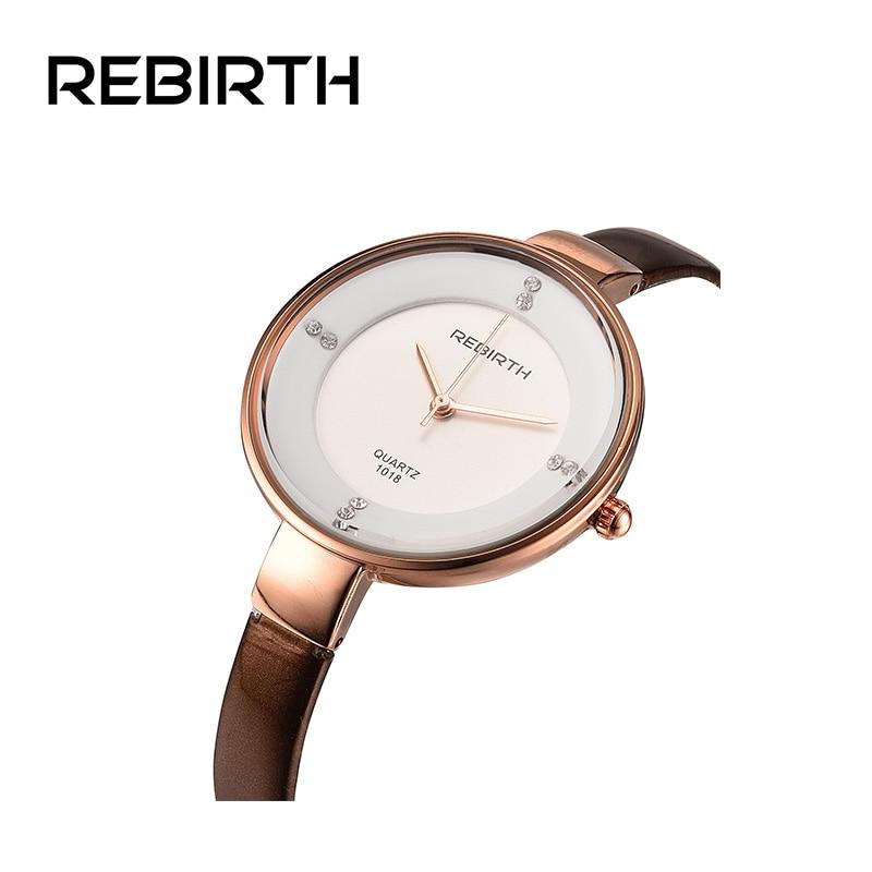 REBIRTH Brand Watches Luxury For Women Casual Ladies Quartz Watch Clock Leather Watchband Dress Wrist watches relogio feminino