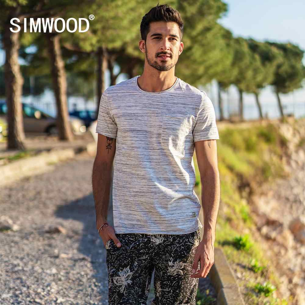 Simwood 2020 Musim Panas Baru Bergaris T Kemeja Pria Slim Fit Baku Roll Leher Fashion Top Kasual Plus Ukuran Tshirt Tees 180239