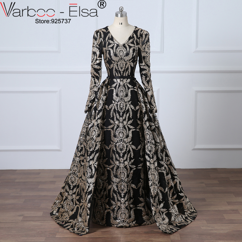 VAROO_ELSA Glitter Black Sequined Evening Dress Removable Train Long Prom Dress Saudi Arabia Formal Gown 2018 Muslim Prom Dress(China)
