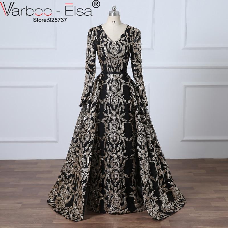VAROO_ELSA robe de soirée noire pailletée paillettes Train amovible longue robe de bal arabie saoudite robe formelle 2018 robe de bal musulmane