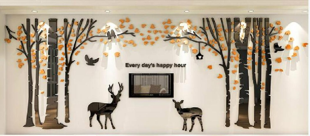 Pegatina de pared tridimensional grande Forest Deer Living Room Sofa - Decoración del hogar - foto 2