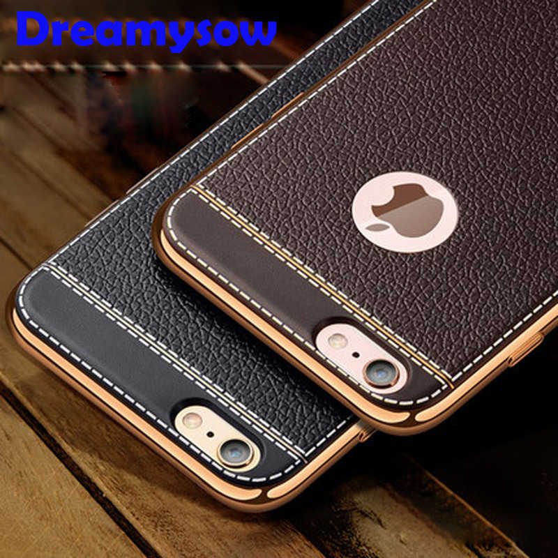 Litchi grain luxury Plating TPU silicone mobile phone case For iphone X Xr Xs Max 6 6s plus 7 8 plus 5 5s se Plating Frame cover