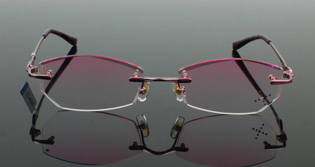 Pure titanium óculos de armação de diamante arestas de corte decorações de moda pink lady óculos óculos armação unissex óculos ópticos