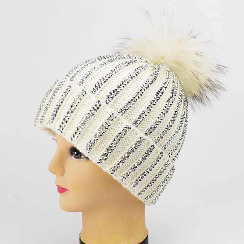 a749115148492c ... 2019 New Fashion Winter Hat Rhinestones Diamond Thorn Hat Real Fur For  Women Pom Poms Warm