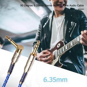 Image 5 - 90 grad hohe quility 6,35mm Stereo Stecker auf Stecker Audio Kabel für elektrische gitarre, mikrofon, power verstärker kombination audio