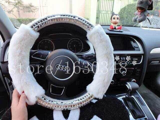 Luxury Furry Steering Wheel Cover Glitter Crystal Rhinestone Real Fur Handmade Custom Car Accessories Gift