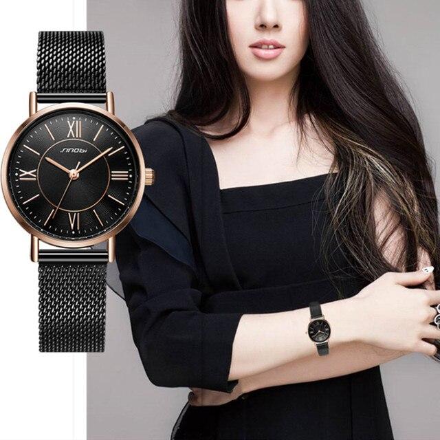 SINOBI Hot Sale Classic Women Watches Black/Golden Luxury Simple Stainless Steel Bracelet Watch Ladies Wristwatch Reloj Mujer