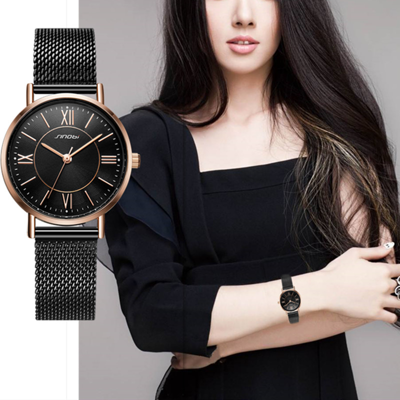 SINOBI New Arrival Classic Women Watches Black/Golden Luxury Simple Stainless Steel Bracelet Watch Ladies Wristwatch Reloj Mujer