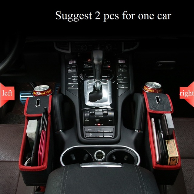 Luxury PU Leather Car Front Seat Organizer Storage Box Case Cup Holder Multifunctional Gap