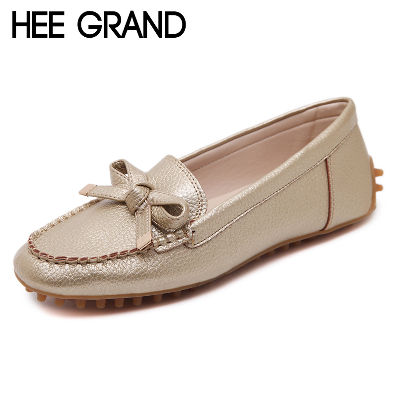 HEE GRAND Split Leather Women Shoes Casual Slip On Loafers Knot Sliver Gold Flats Soft Platform Shoes Woman Size 35-40 XWD5882 hee grand breathable casual woman shoes air mesh candy color woman flats loafers comfortable slip on shoes size 35 40 xwc1181