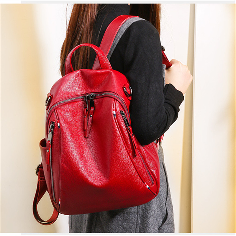 Nesitu High Quality Fashion Black Red Blue Genuine Leather Cute Women Backpacks Female Young Girl Woman Shoulder Bags M0977