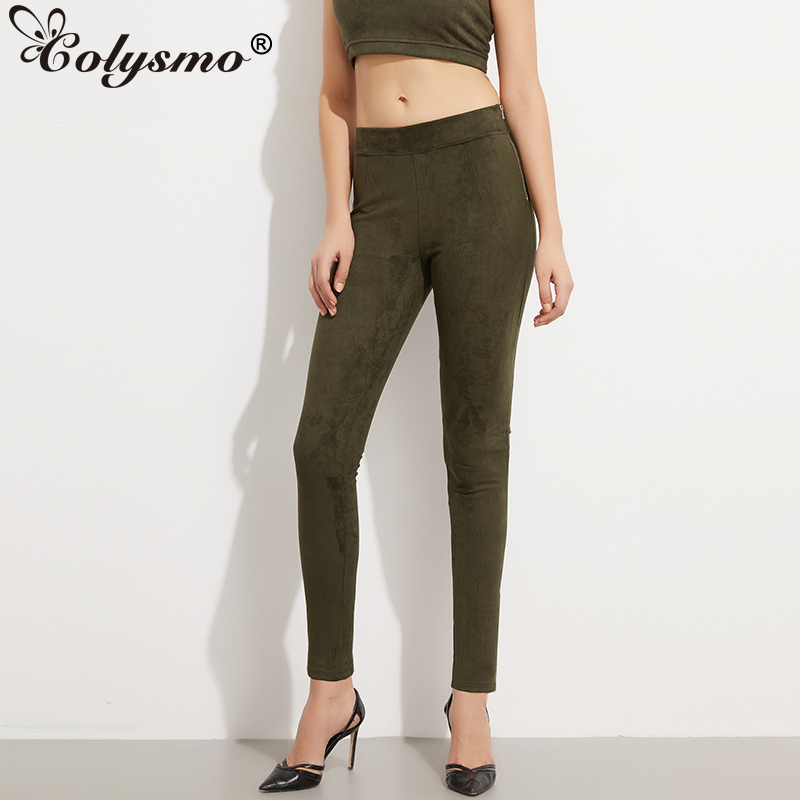Colysmo अच्छा लोचदार पक्ष जिपर उच्च कमर महिलाओं साबर पैंट सर्दियों पंत शरद ऋतु वसंत खिंचाव पतली तंग पेंसिल पंत