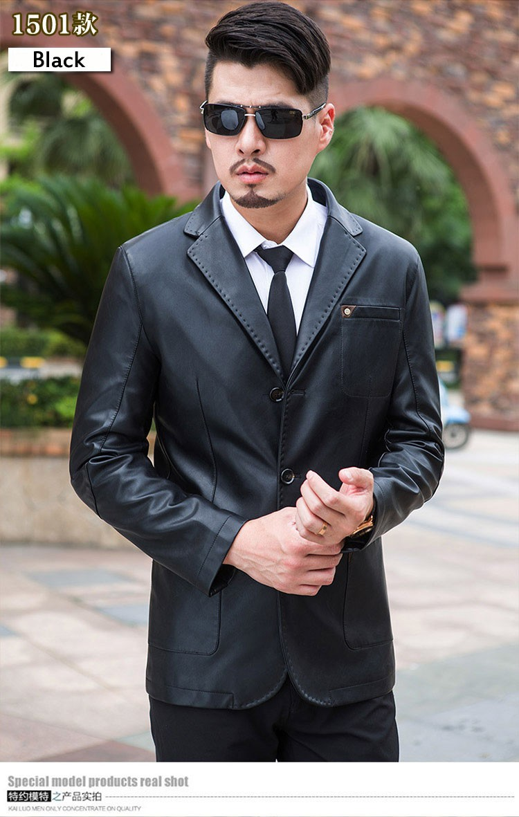 Men leather suit 2020 spring and autumn blazer male sheepskin suit tops genuine split leather slim jacket black brown coat