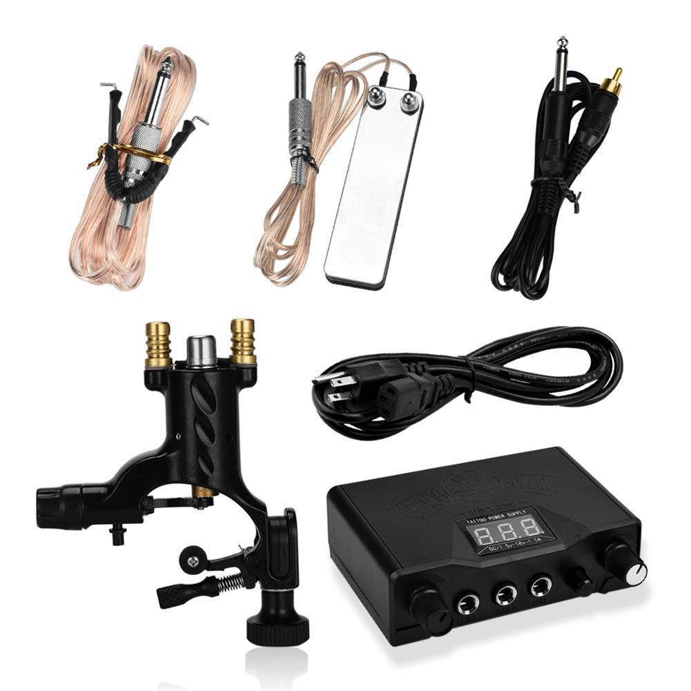 Machine de tatouage de libellule professionnelle US/EU/UK alimentation LED Kit de pédale de pied de cordon d'alimentation