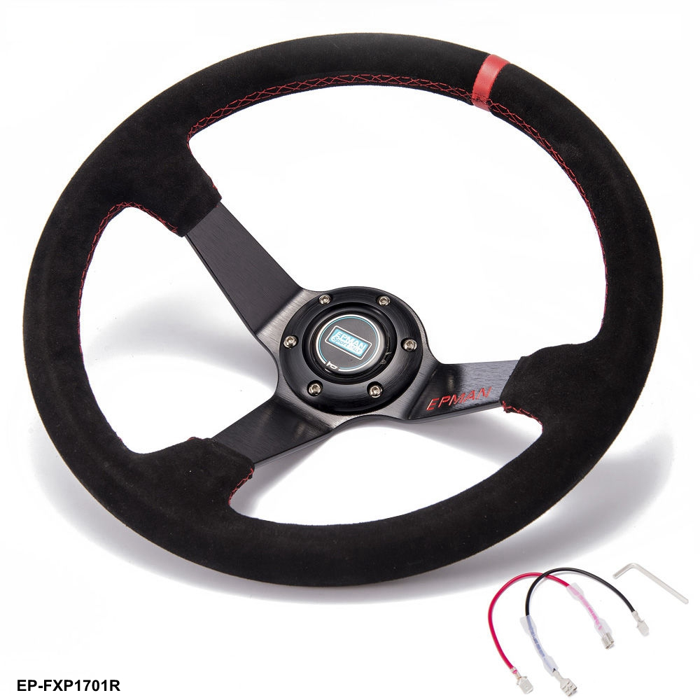 Car Racing Drift 350 mm Suede EPMAN Steering Wheel 3.5 Deep With Horn Button EP FXP1701R AF