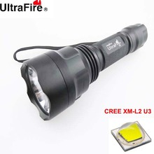U-F C12 CREE XM-L2 U3 1800lm Cool White Light 3-Mode High>Middle>Low SMO LED Flashlight (1 x 18650)