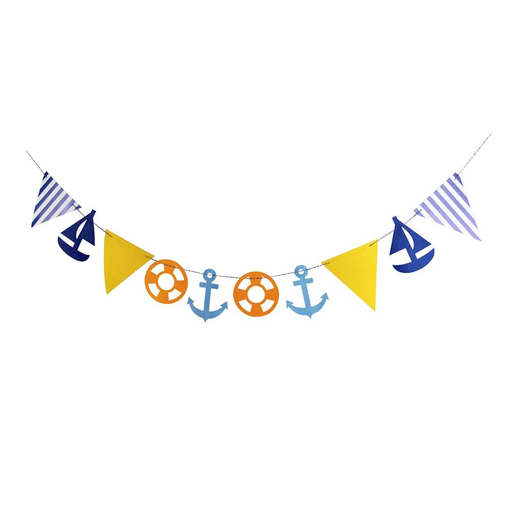 Nautical Anchor and Ships Wheel Retro Birthday Banner Party Decoration Backdrop