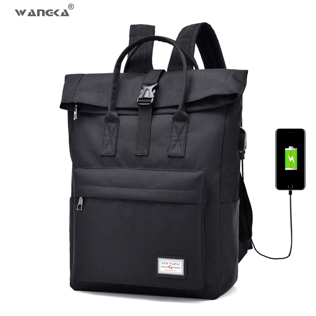 WANGKA Women Men Casual Canvas Backpack with USB Charging 5