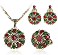 3 Piece Suit Turkish Jewelry Colorfull stone Earrings And Necklace For Women Nigerian Wedding Afran Beads Jewelry Set Crystal