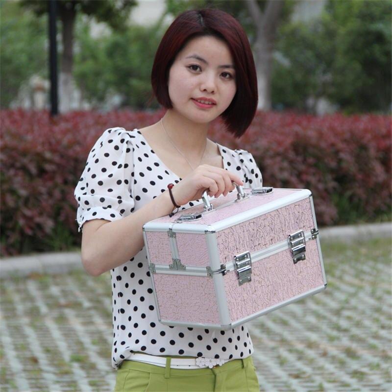 Ev ve Bahçe'ten Saklama Kutuları ve Kovaları'de Moda makyaj çantası Taşınabilir Kozmetik Kutusu makyaj kutusu Kutusu Bayan kozmetik düzenleyici 4 Renk Makyaj Kutusu Çantası Büyük Kapasiteli'da  Grup 2