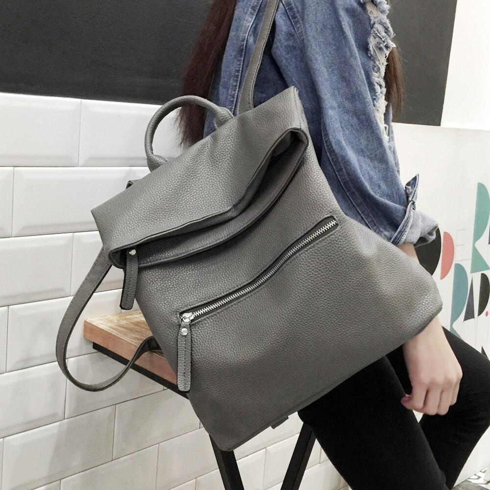 2017 Leather Backpack Women s Book Bag Teenage Girl Black Travel Backpack Waterproof Bag School Bag