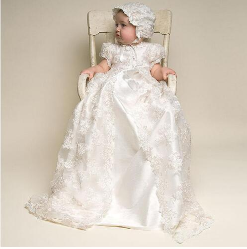 цена  ON SALE Cheap Baby Girls White Ivory Christening Dress 2 Pieces Boys Girls Baptism Gown Birthday Dress with Bonnet with Shoes  онлайн в 2017 году
