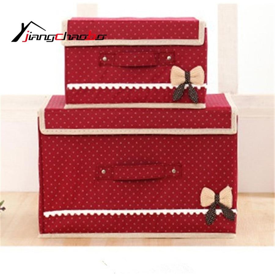 Bowknot Storage Box Nonwoven Fabric Organiser Bag Foldable Toys Storage Bin  Big Size Cloth Storage Box