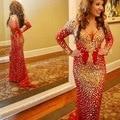 Árabe Dubai Red Mermaid Prom Vestidos Com Mangas Compridas de Cristal Com Decote Em V Strass Especial Ocasião Vestidos Pageant Prom Dress