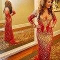 Árabe Dubai Red Sirena Vestidos de Baile Con Mangas Largas Crystal Rhinestone V-cuello Ocasión Especial Vestidos Del Desfile Vestido de Fiesta
